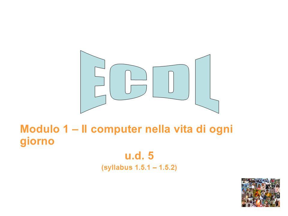 Modulo 1 – Il computer nella vita di ogni giorno u.d. 5 (syllabus 1.5.1 – 1.5.2)