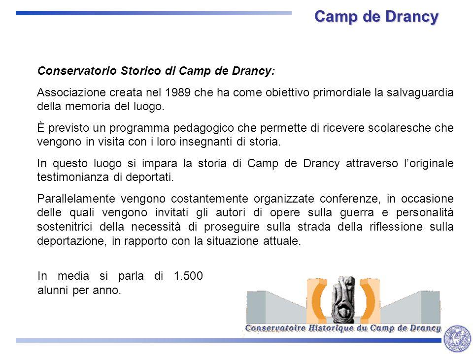 Camp de Drancy Conservatorio Storico di Camp de Drancy: Associazione creata nel 1989 che ha come obiettivo primordiale la salvaguardia della memoria del luogo.