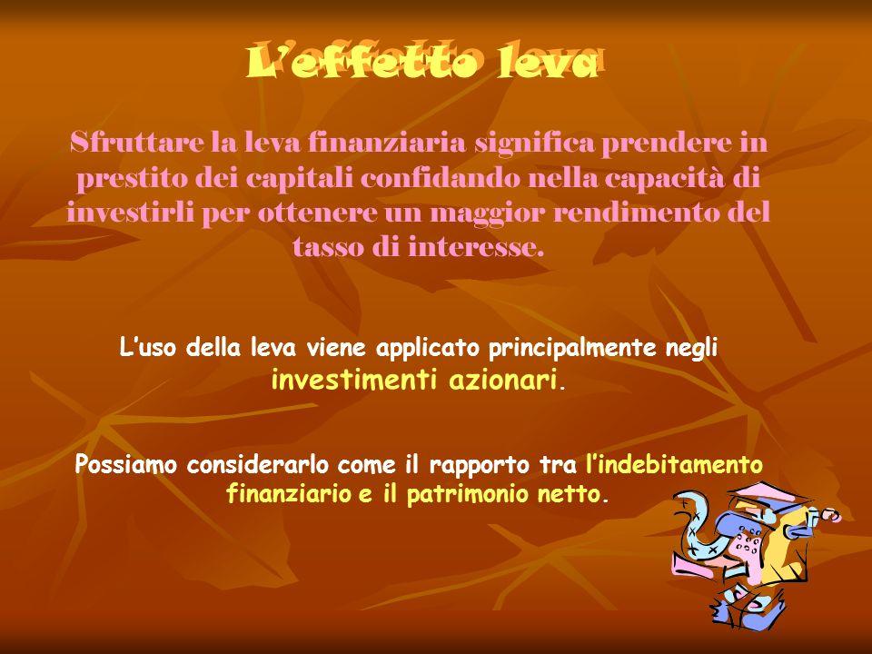 Leffetto leva Leffetto leva Sfruttare la leva finanziaria significa prendere in prestito dei capitali confidando nella capacità di investirli per otte