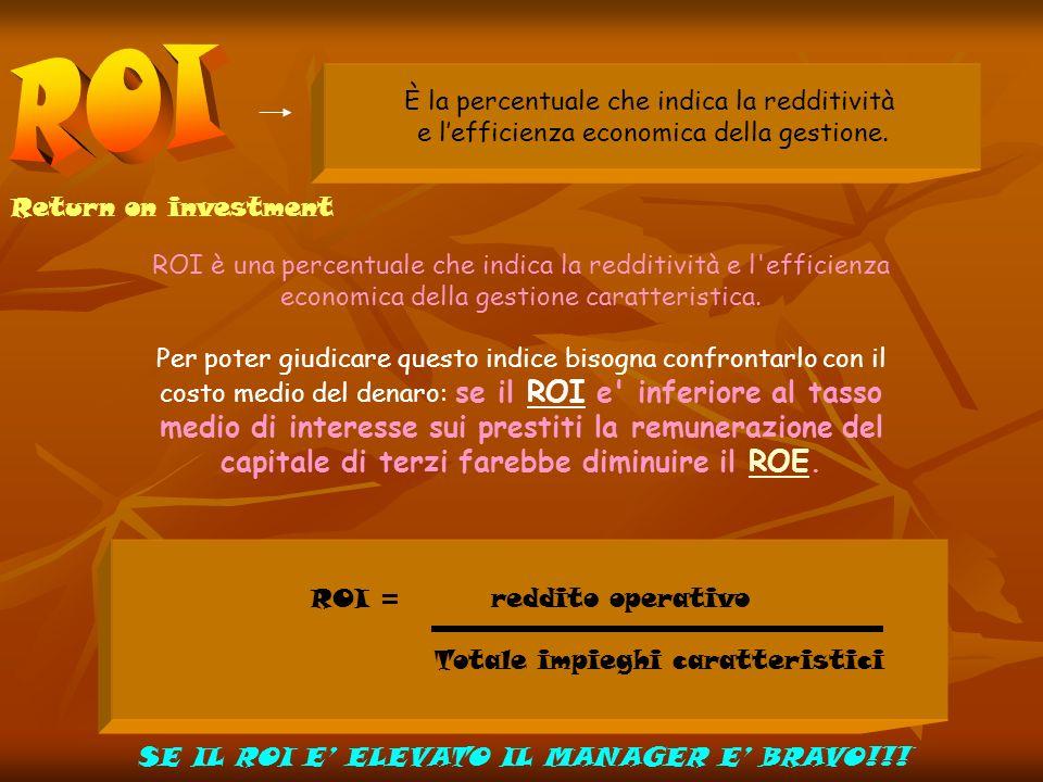 Return on investment È la percentuale che indica la redditività e lefficienza economica della gestione. ROI è una percentuale che indica la redditivit