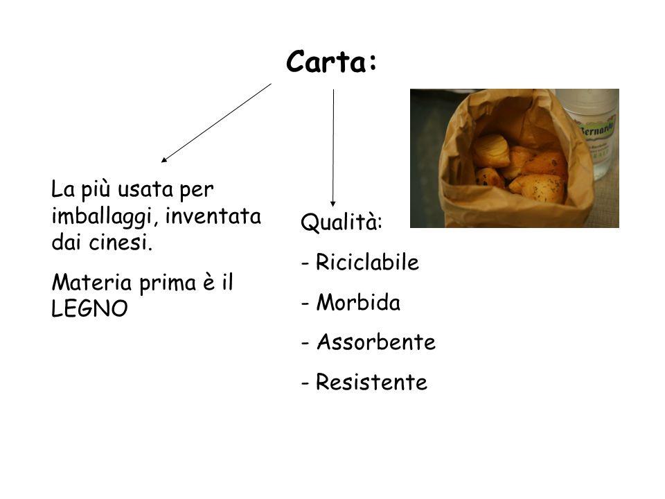 Carta: La più usata per imballaggi, inventata dai cinesi. Materia prima è il LEGNO Qualità: - Riciclabile - Morbida - Assorbente - Resistente