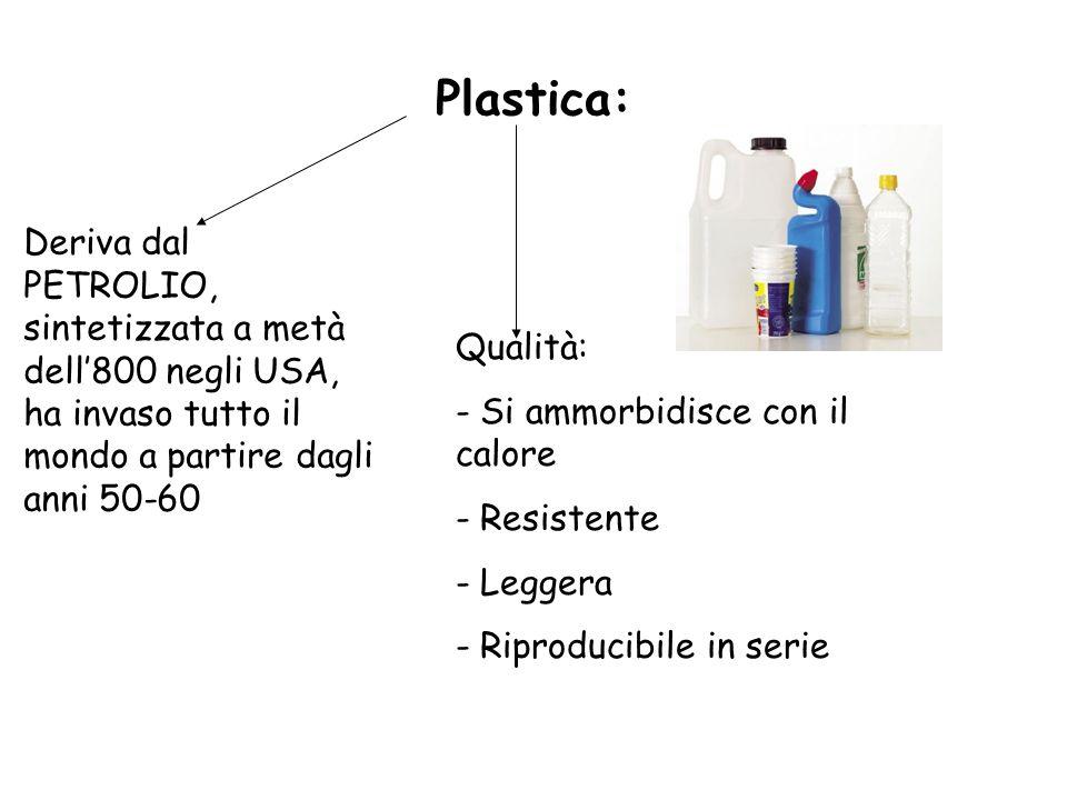 Plastica: Deriva dal PETROLIO, sintetizzata a metà dell800 negli USA, ha invaso tutto il mondo a partire dagli anni 50-60 Qualità: - Si ammorbidisce c