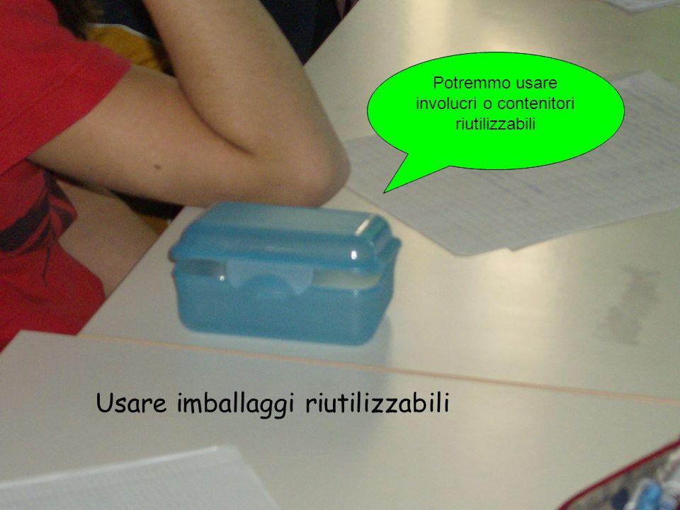 Potremmo usare involucri o contenitori riutilizzabili Usare imballaggi riutilizzabili