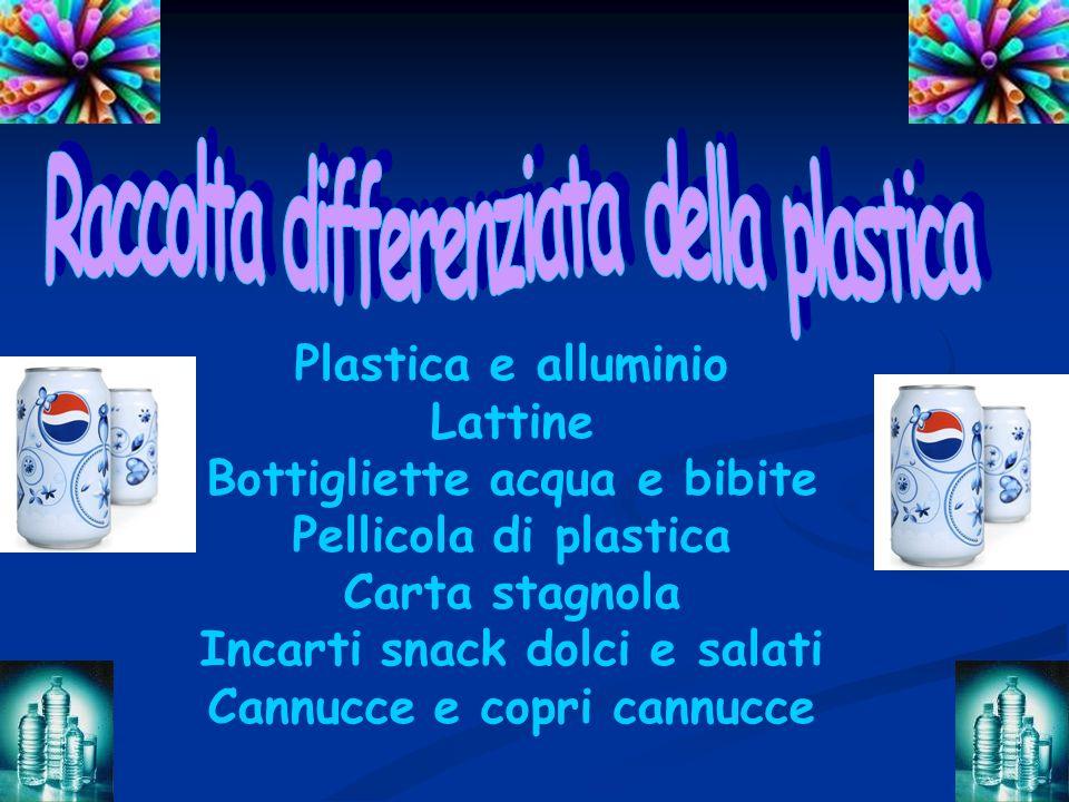 Plastica e alluminio Lattine Bottigliette acqua e bibite Pellicola di plastica Carta stagnola Incarti snack dolci e salati Cannucce e copri cannucce