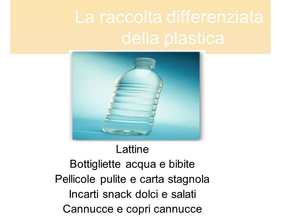La raccolta differenziata della plastica Lattine Bottigliette acqua e bibite Pellicole pulite e carta stagnola Incarti snack dolci e salati Cannucce e