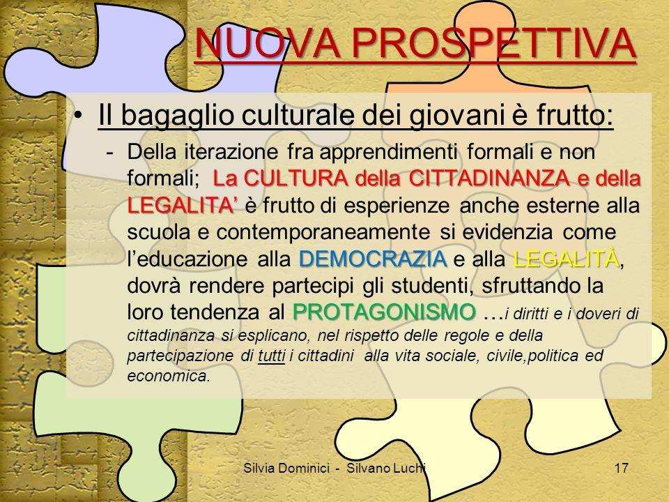NUOVA PROSPETTIVA Il bagaglio culturale dei giovani è frutto: La CULTURA della CITTADINANZAe della LEGALITA DEMOCRAZIALEGALITÀ PROTAGONISMO - Della it