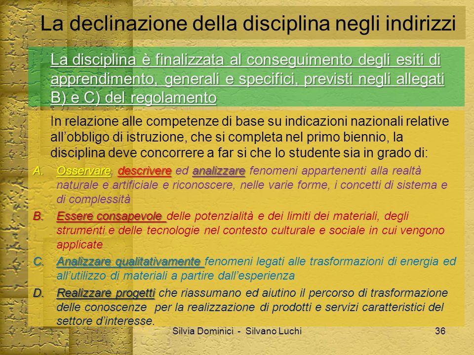 La declinazione della disciplina negli indirizzi La disciplina è finalizzata al conseguimento degli esiti di apprendimento, generali e specifici, prev