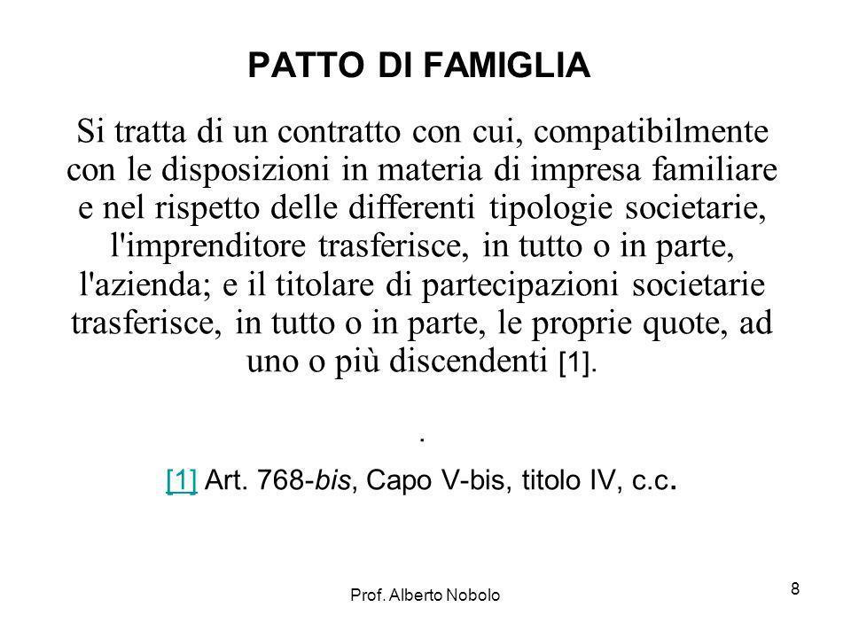 Prof. Alberto Nobolo PATTO DI FAMIGLIA Si tratta di un contratto con cui, compatibilmente con le disposizioni in materia di impresa familiare e nel ri