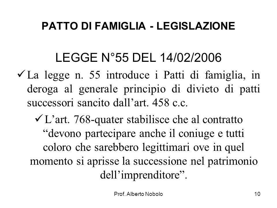Prof. Alberto Nobolo PATTO DI FAMIGLIA - LEGISLAZIONE LEGGE N°55 DEL 14/02/2006 La legge n. 55 introduce i Patti di famiglia, in deroga al generale pr