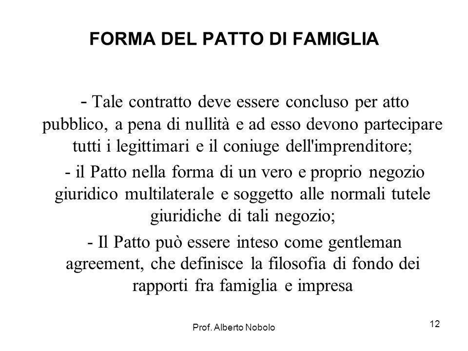 Prof. Alberto Nobolo 12 FORMA DEL PATTO DI FAMIGLIA - Tale contratto deve essere concluso per atto pubblico, a pena di nullità e ad esso devono partec