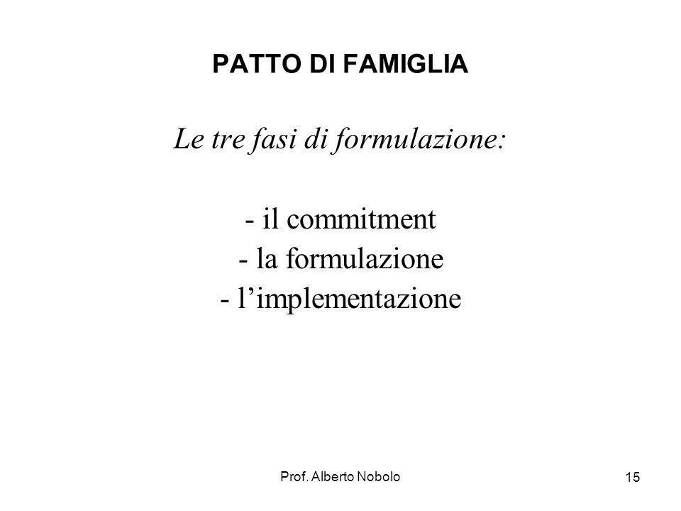Prof. Alberto Nobolo 15 PATTO DI FAMIGLIA Le tre fasi di formulazione: - il commitment - la formulazione - limplementazione