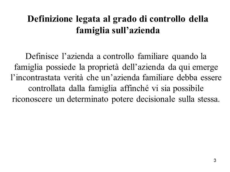 3 Definizione legata al grado di controllo della famiglia sullazienda Definisce lazienda a controllo familiare quando la famiglia possiede la propriet