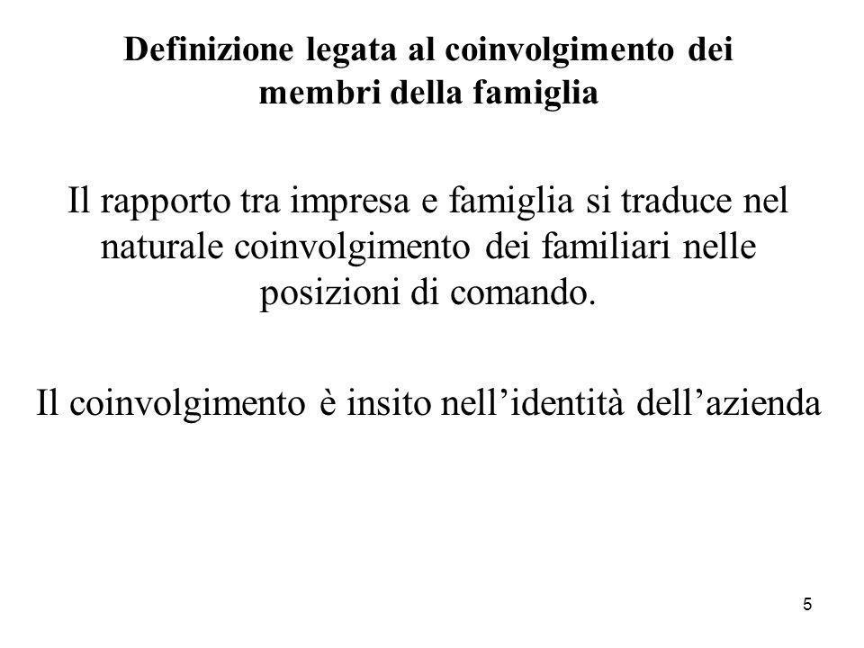 5 Definizione legata al coinvolgimento dei membri della famiglia Il rapporto tra impresa e famiglia si traduce nel naturale coinvolgimento dei familia