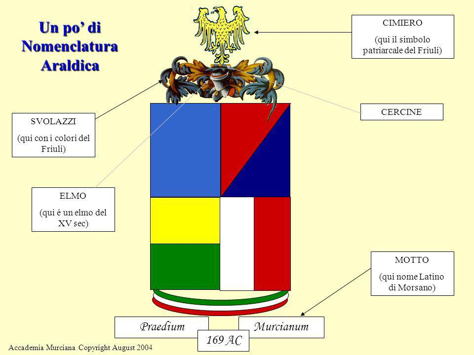 Accademia Murciana Copyright August 2004 MurcianumPraedium 169 AC SVOLAZZI (qui con i colori del Friuli) MOTTO (qui nome Latino di Morsano) CIMIERO (q