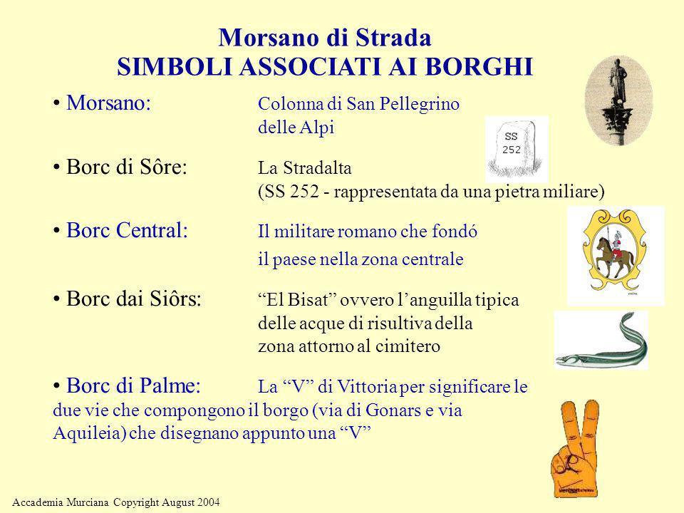 Accademia Murciana Copyright August 2004 Morsano di Strada SIMBOLI ASSOCIATI AI BORGHI Morsano: Colonna di San Pellegrino delle Alpi Borc di Sôre: La