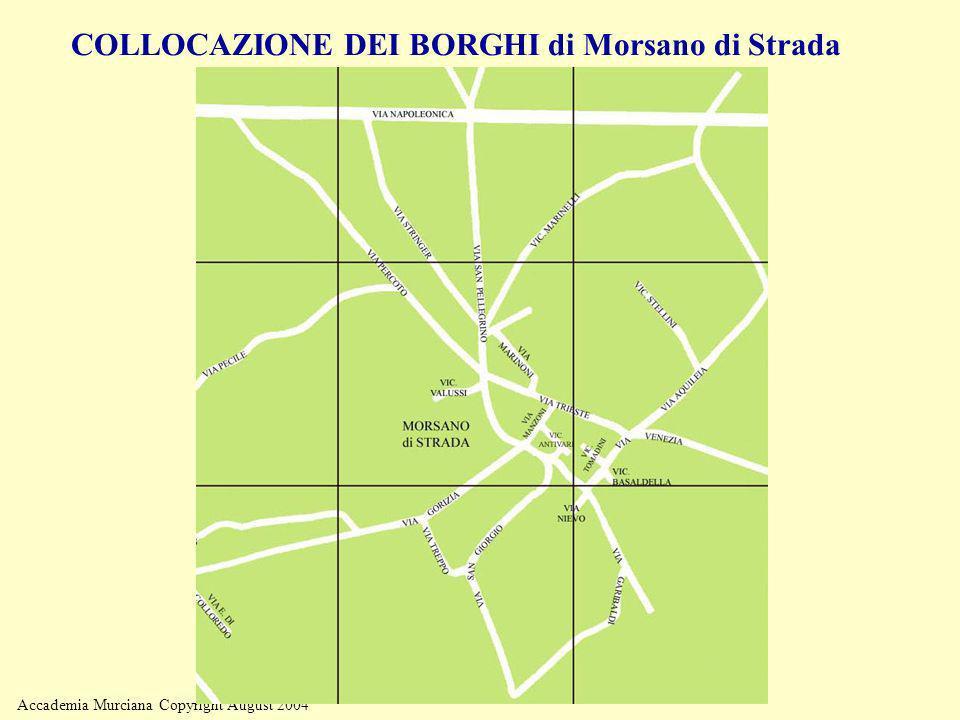 Accademia Murciana Copyright August 2004 COLLOCAZIONE DEI BORGHI di Morsano di Strada