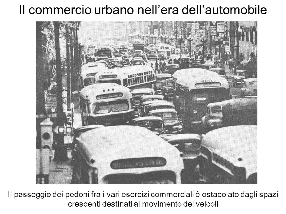 Il commercio urbano nellera dellautomobile Il passeggio dei pedoni fra i vari esercizi commerciali è ostacolato dagli spazi crescenti destinati al mov