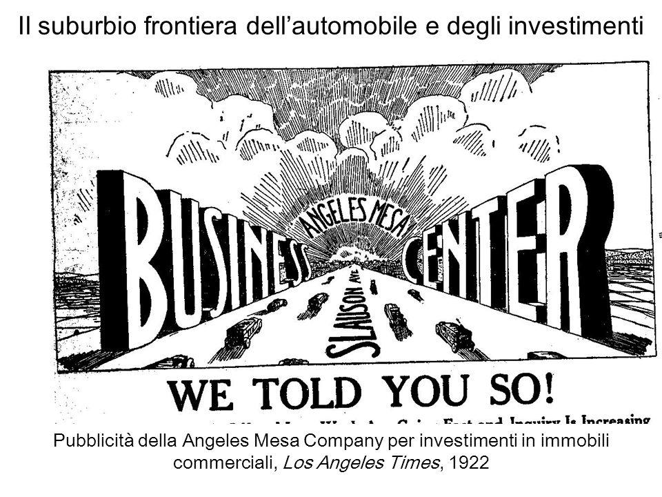 Il suburbio frontiera dellautomobile e degli investimenti Pubblicità della Angeles Mesa Company per investimenti in immobili commerciali, Los Angeles