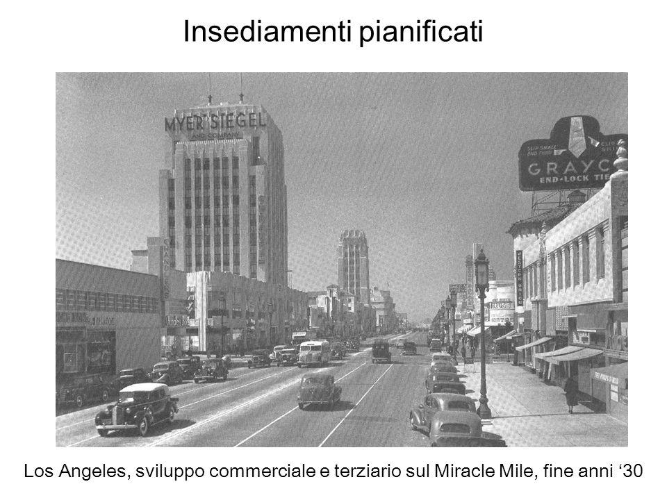Insediamenti pianificati Los Angeles, sviluppo commerciale e terziario sul Miracle Mile, fine anni 30
