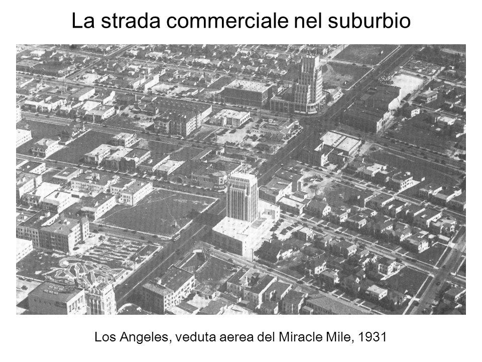 La strada commerciale nel suburbio Los Angeles, veduta aerea del Miracle Mile, 1931