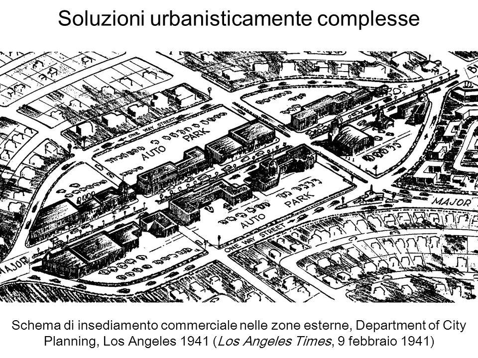 Soluzioni urbanisticamente complesse Schema di insediamento commerciale nelle zone esterne, Department of City Planning, Los Angeles 1941 (Los Angeles