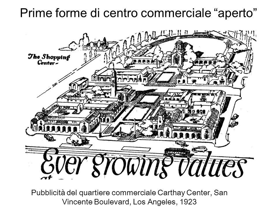 Prime forme di centro commerciale aperto Pubblicità del quartiere commerciale Carthay Center, San Vincente Boulevard, Los Angeles, 1923