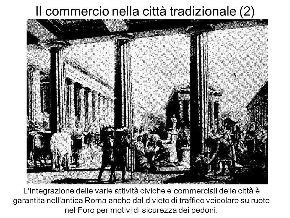 Il commercio nella città tradizionale (2) Lintegrazione delle varie attività civiche e commerciali della città è garantita nellantica Roma anche dal d