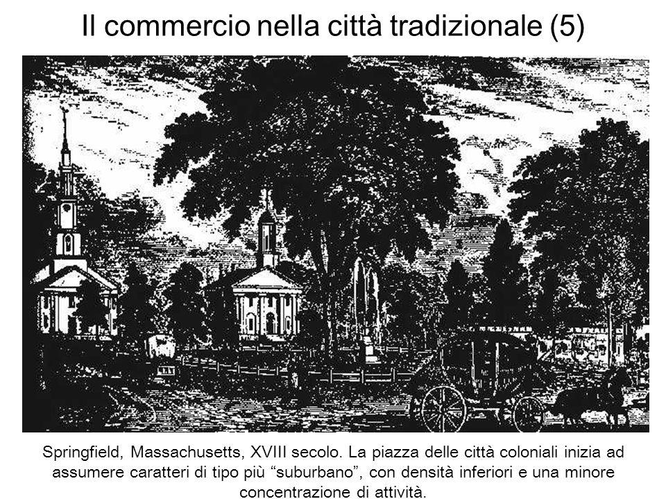 Il commercio nella città tradizionale (5) Springfield, Massachusetts, XVIII secolo. La piazza delle città coloniali inizia ad assumere caratteri di ti