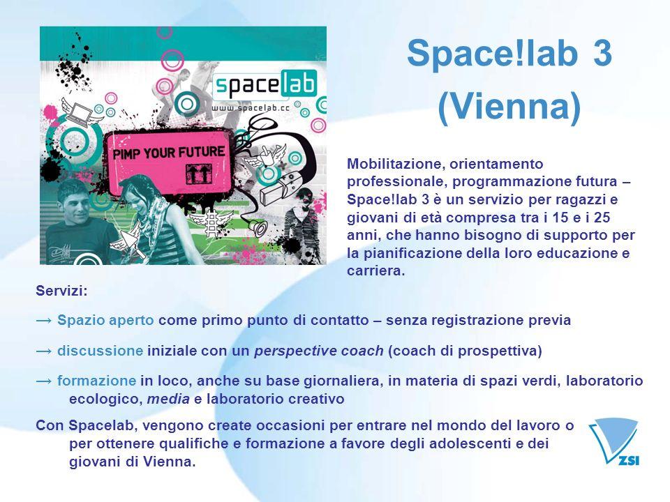 Space!lab 3 (Vienna) Servizi: Spazio aperto come primo punto di contatto – senza registrazione previa discussione iniziale con un perspective coach (c