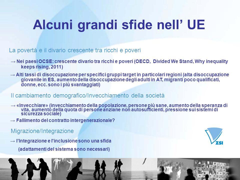 Alcuni grandi sfide nell UE La povertà e il divario crescente tra ricchi e poveri Nei paesi OCSE: crescente divario tra ricchi e poveri (OECD, Divided