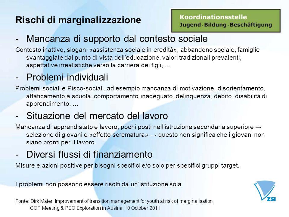 Rischi di marginalizzazione -Mancanza di supporto dal contesto sociale Contesto inattivo, slogan: «assistenza sociale in eredità», abbandono sociale,