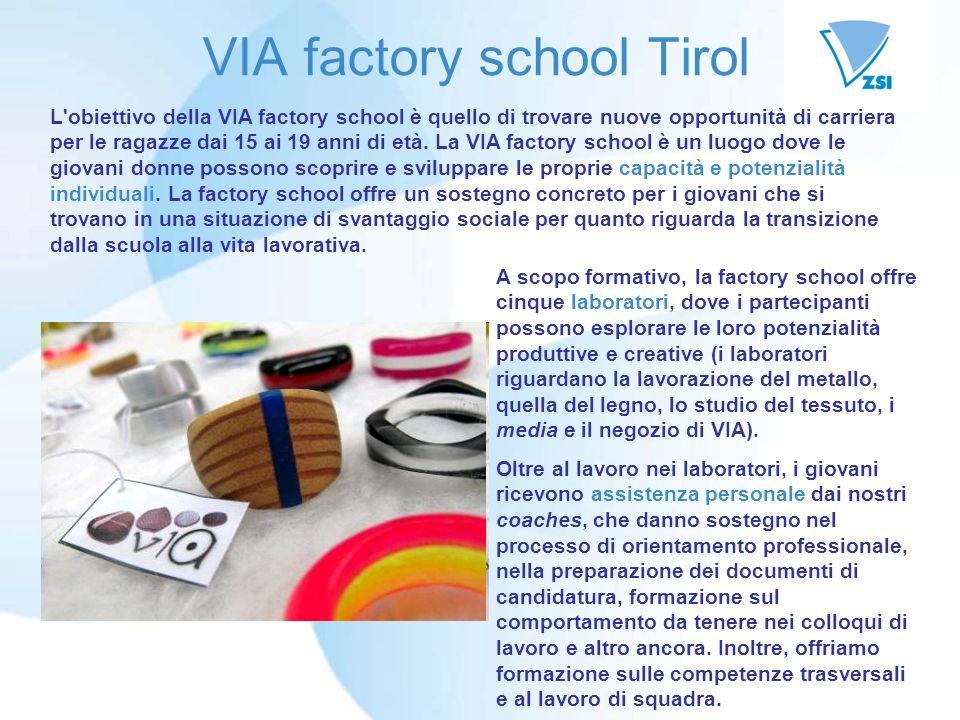 VIA factory school Tirol A scopo formativo, la factory school offre cinque laboratori, dove i partecipanti possono esplorare le loro potenzialità produttive e creative (i laboratori riguardano la lavorazione del metallo, quella del legno, lo studio del tessuto, i media e il negozio di VIA).
