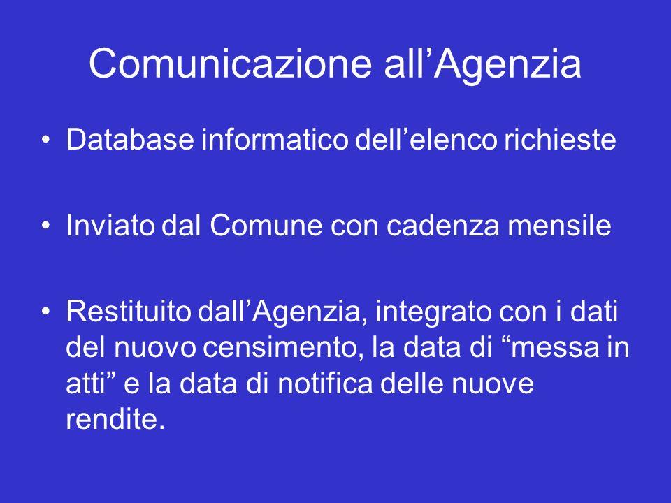 Comunicazione allAgenzia Database informatico dellelenco richieste Inviato dal Comune con cadenza mensile Restituito dallAgenzia, integrato con i dati del nuovo censimento, la data di messa in atti e la data di notifica delle nuove rendite.