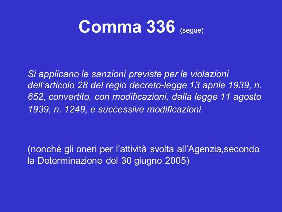 Comma 336 (segue) Si applicano le sanzioni previste per le violazioni dellarticolo 28 del regio decreto-legge 13 aprile 1939, n.