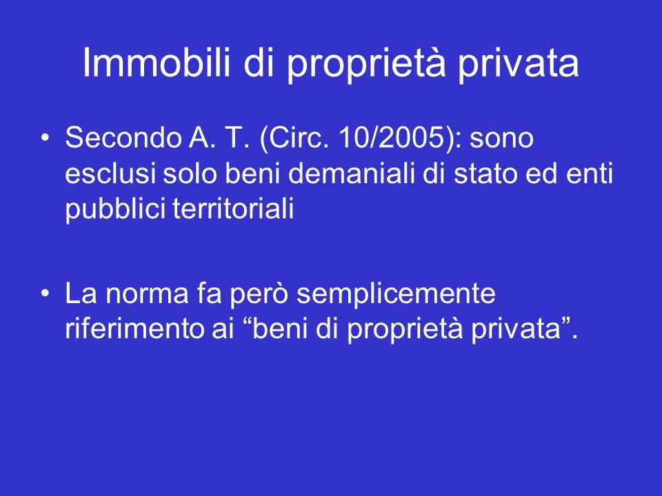 Immobili di proprietà privata Secondo A. T. (Circ.