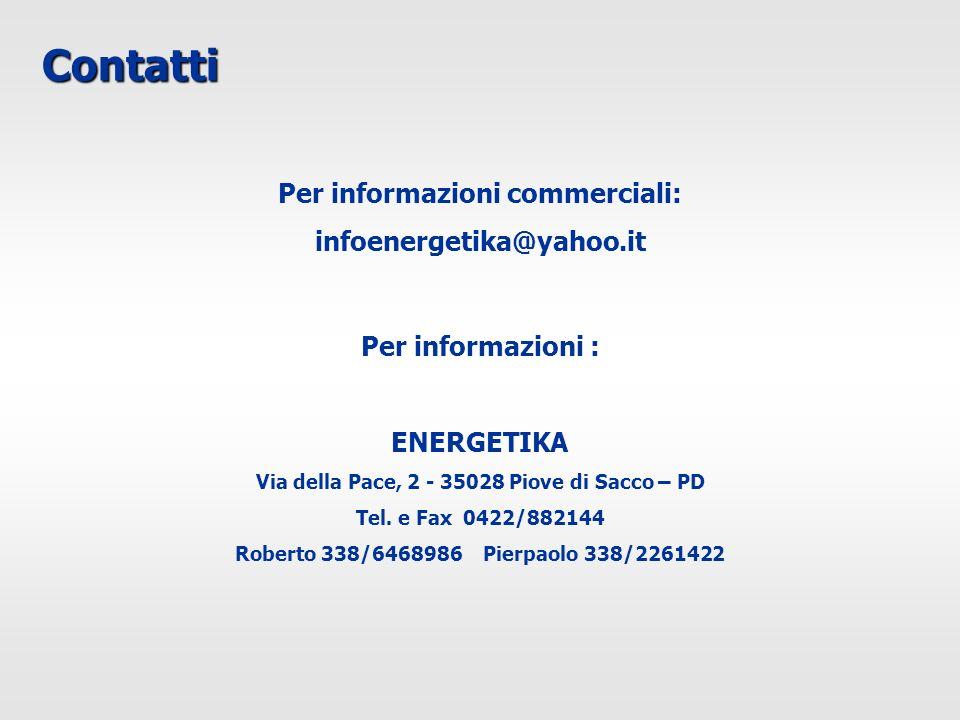 Contatti Per informazioni commerciali: infoenergetika@yahoo.it Per informazioni : ENERGETIKA Via della Pace, 2 - 35028 Piove di Sacco – PD Tel. e Fax