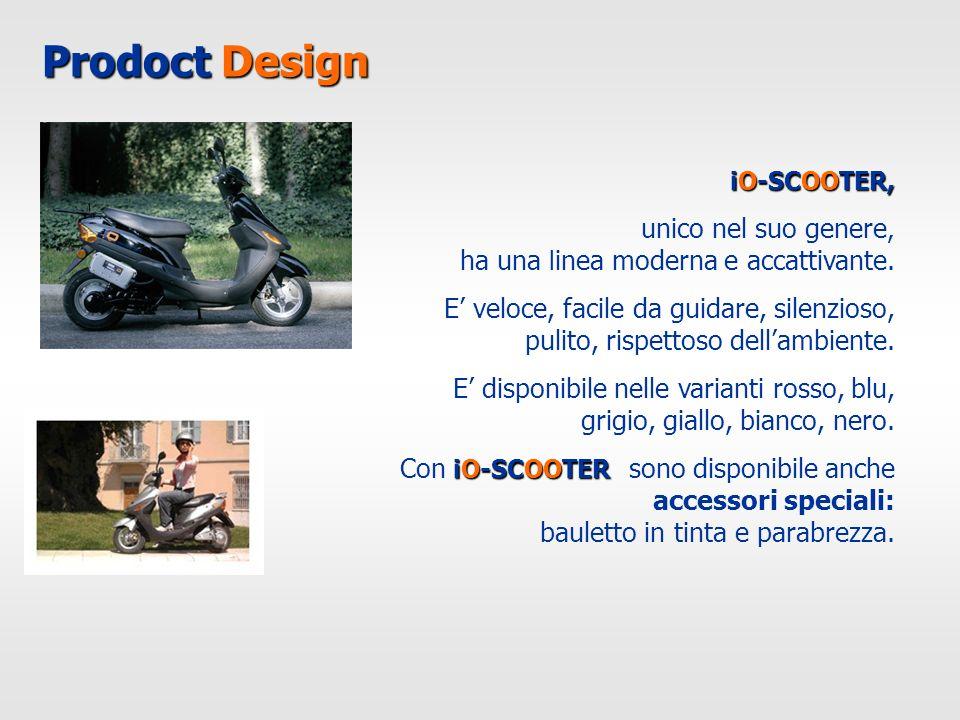 Prodoct Design iO-SCOOTER, unico nel suo genere, ha una l inea moderna e accattivante. E veloce, facile da guidare, silenzioso, pulito, rispettoso del