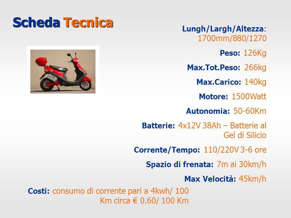Scheda Tecnica Lungh/Largh/Altezza: 1700mm/880/1270 Peso: 126Kg Max.Tot.Peso: 266kg Max.Carico: 140kg Motore: 1500Watt Autonomia: 50-60Km Batterie: 4x