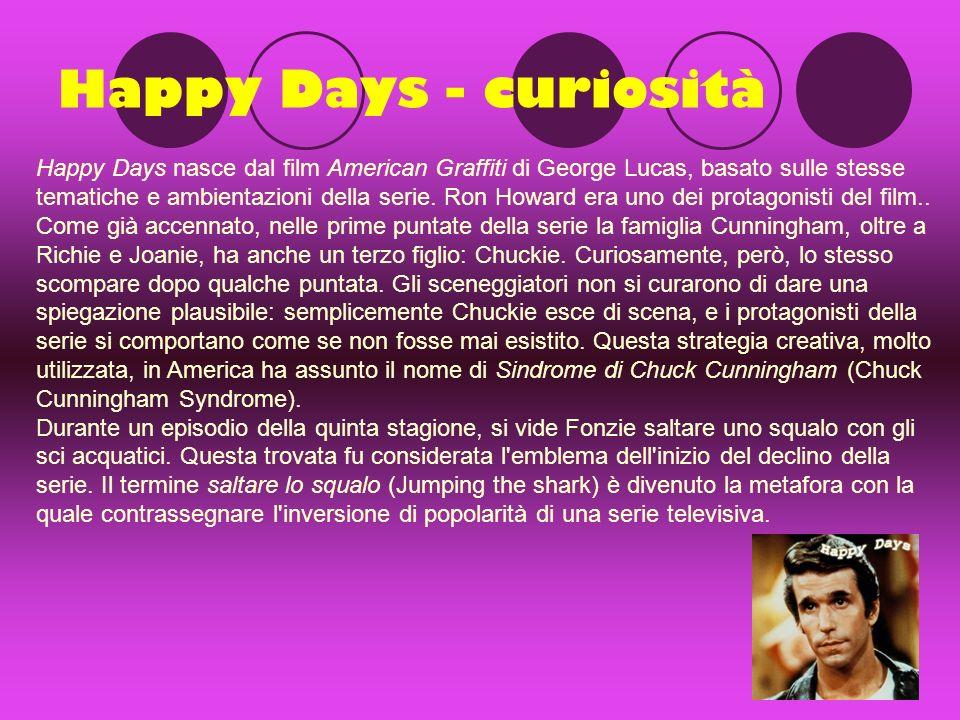 Happy Days - curiosità Happy Days nasce dal film American Graffiti di George Lucas, basato sulle stesse tematiche e ambientazioni della serie.