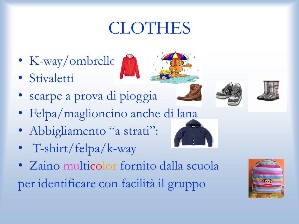 CLOTHES K-way/ombrello Stivaletti scarpe a prova di pioggia Felpa/maglioncino anche di lana Abbigliamento a strati: T-shirt/felpa/k-way Zaino multicolor fornito dalla scuola per identificare con facilità il gruppo