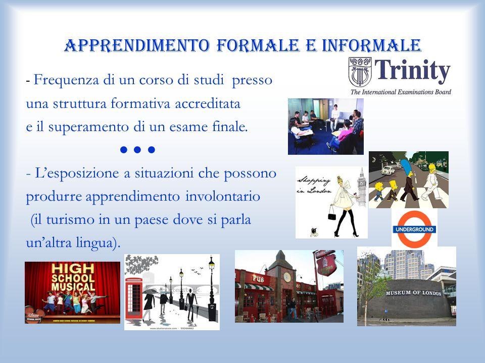 Apprendimento formale e informale - Frequenza di un corso di studi presso una struttura formativa accreditata e il superamento di un esame finale.