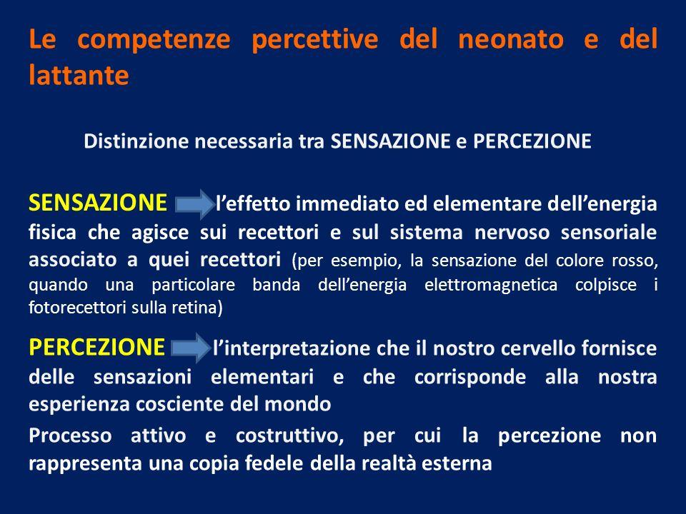 Le competenze percettive del neonato e del lattante Distinzione necessaria tra SENSAZIONE e PERCEZIONE SENSAZIONE leffetto immediato ed elementare del