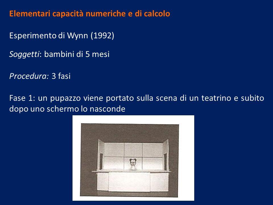 Elementari capacità numeriche e di calcolo Esperimento di Wynn (1992) Soggetti: bambini di 5 mesi Procedura: 3 fasi Fase 1: un pupazzo viene portato sulla scena di un teatrino e subito dopo uno schermo lo nasconde