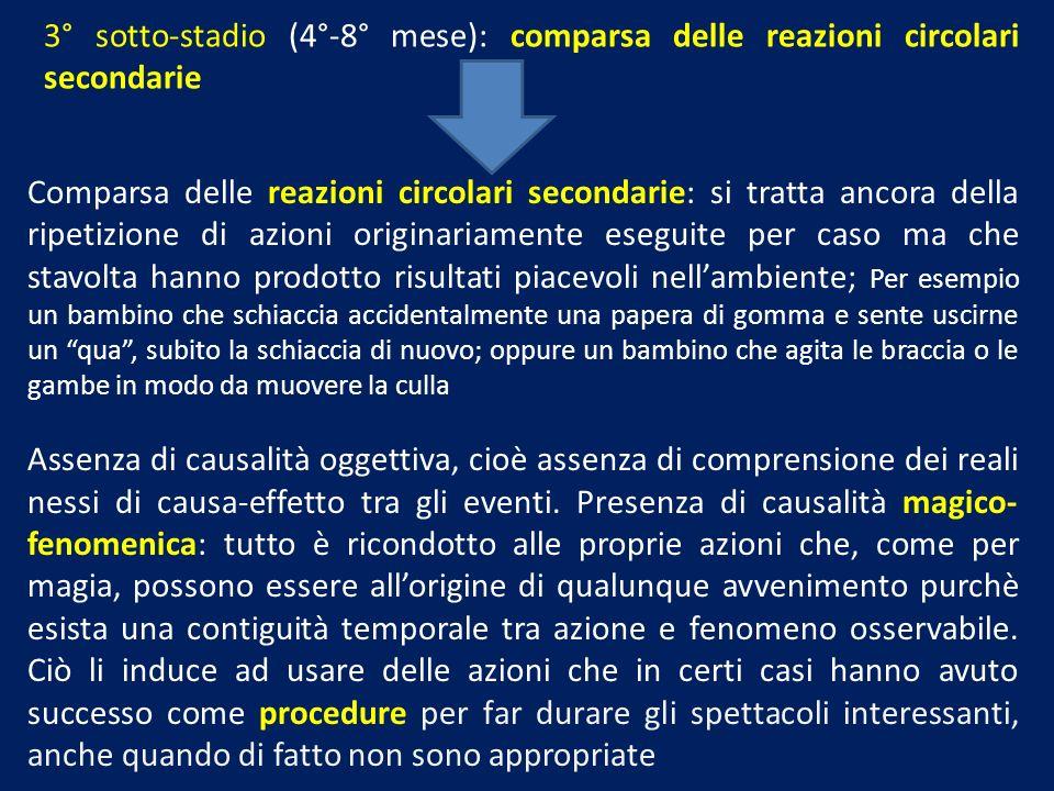 3° sotto-stadio (4°-8° mese): comparsa delle reazioni circolari secondarie Comparsa delle reazioni circolari secondarie: si tratta ancora della ripeti