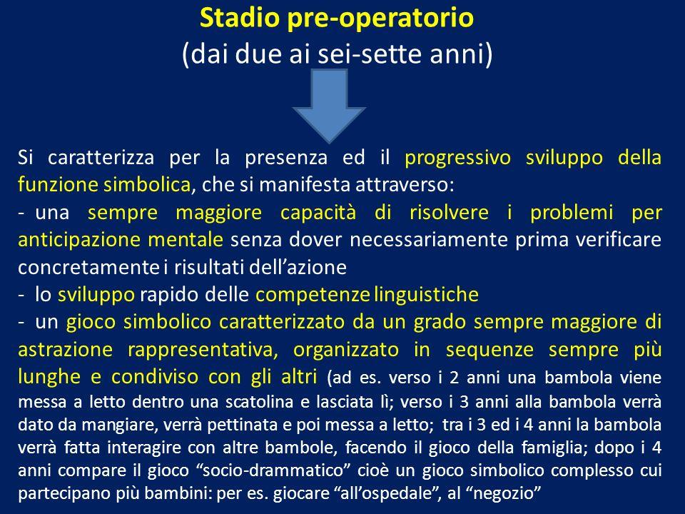Stadio pre-operatorio (dai due ai sei-sette anni) Si caratterizza per la presenza ed il progressivo sviluppo della funzione simbolica, che si manifest