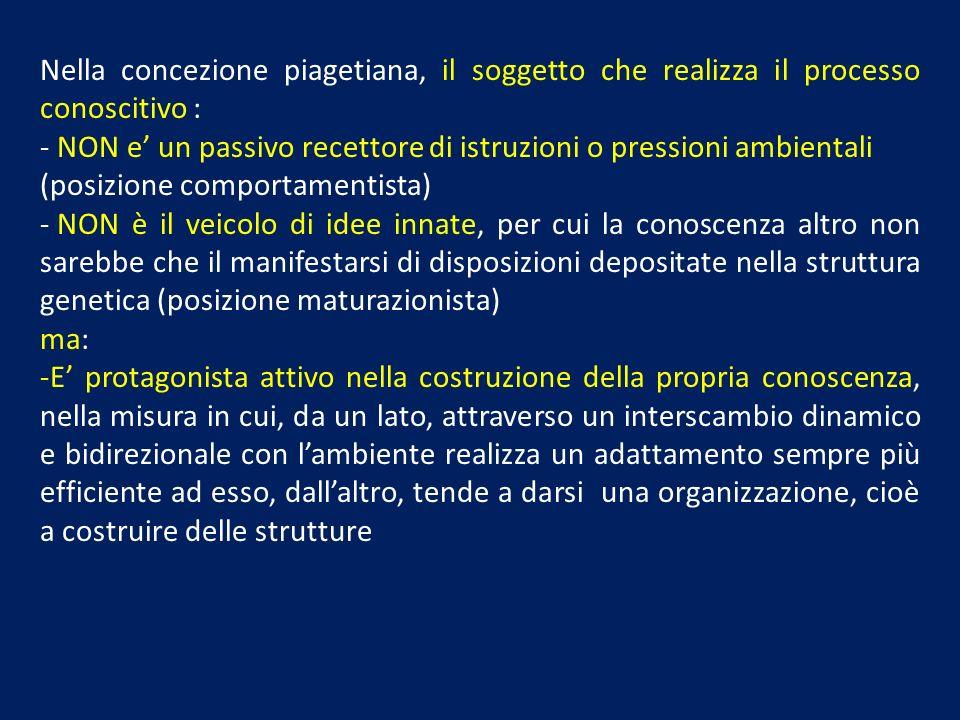 Nella concezione piagetiana, il soggetto che realizza il processo conoscitivo : - NON e un passivo recettore di istruzioni o pressioni ambientali (pos