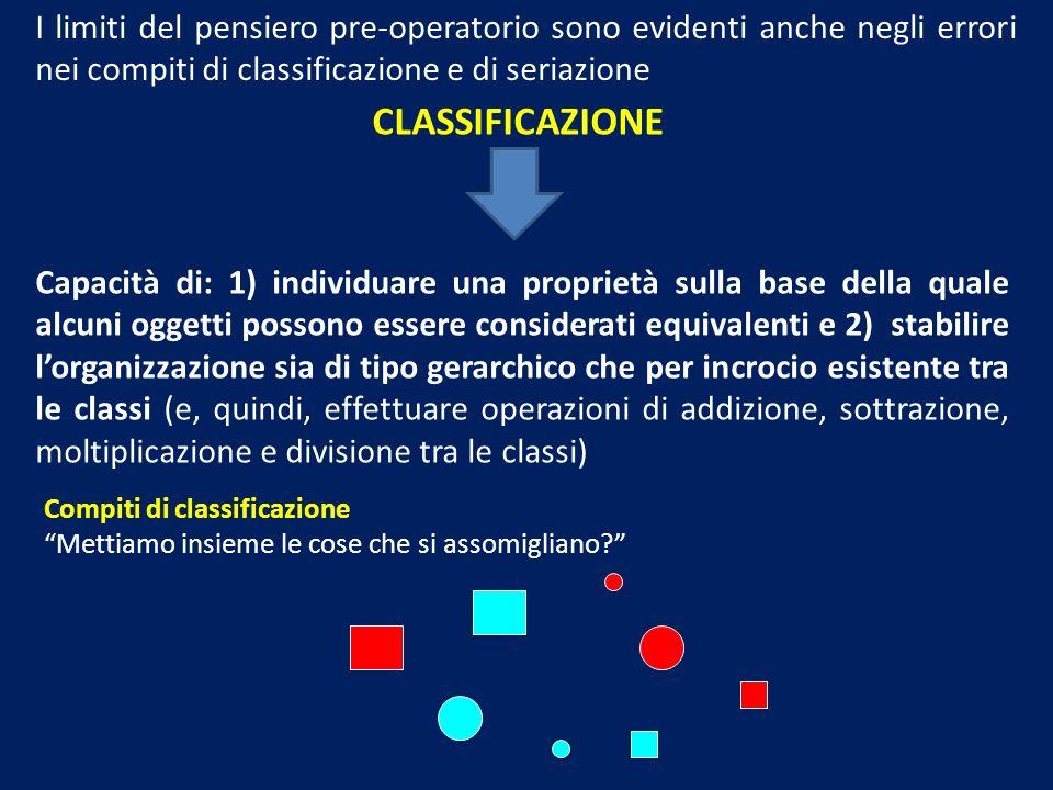 I limiti del pensiero pre-operatorio sono evidenti anche negli errori nei compiti di classificazione e di seriazione CLASSIFICAZIONE Capacità di: 1) i