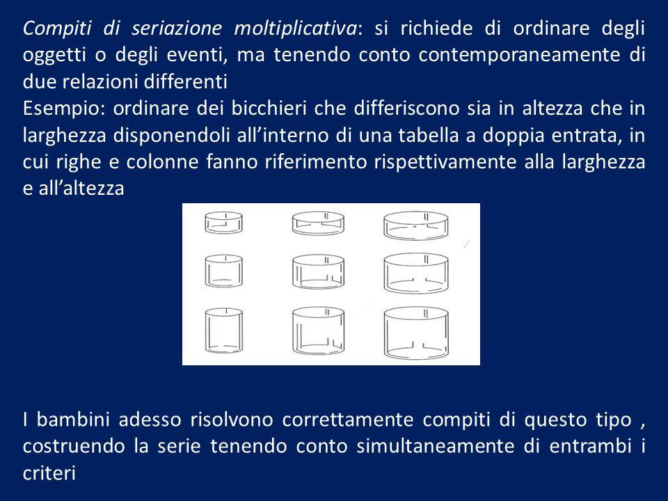 Compiti di seriazione moltiplicativa: si richiede di ordinare degli oggetti o degli eventi, ma tenendo conto contemporaneamente di due relazioni diffe
