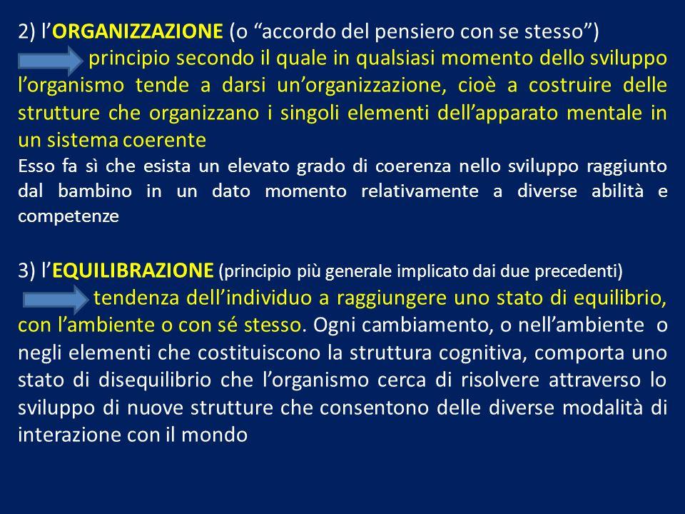 2) lORGANIZZAZIONE (o accordo del pensiero con se stesso) principio secondo il quale in qualsiasi momento dello sviluppo lorganismo tende a darsi unor