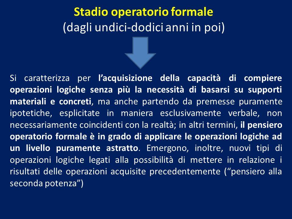 Stadio operatorio formale (dagli undici-dodici anni in poi) Si caratterizza per lacquisizione della capacità di compiere operazioni logiche senza più